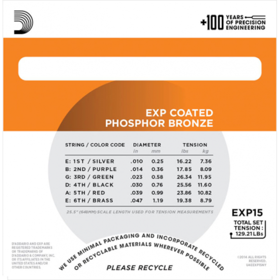 D'Addario EXP15 Phosphor Bronze Acoustic Guitar Strings, Coated, Extra Light, 10-47