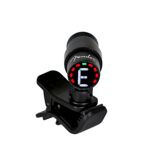 Fender Compact Black Bullet Style LED Clip On Guitar, Bass, Chromatic Tuner