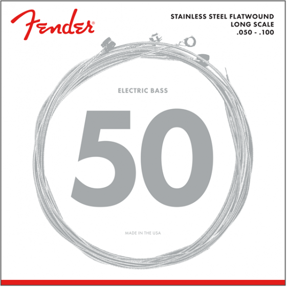 Fender Stainless 9050ML Bass Strings, Stainless Steel Flatwound, Gauge .050-.100