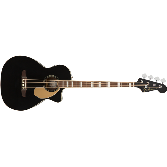 Fender Kingman Bass 4-String Acoustic Electric Jetty Black Bass Guitar w/Gig Bag