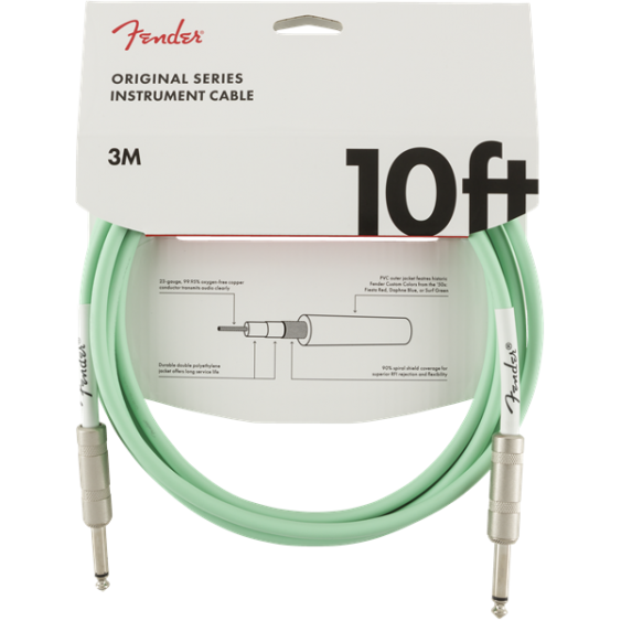 Fender Original Series 10 Ft Surf Green Instrument Cable for Guitar, Bass, More