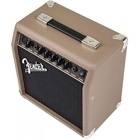 Fender Acoustasonic 15 Watt Acoustic Guitar Amplifier, Cable and Picks Bundle