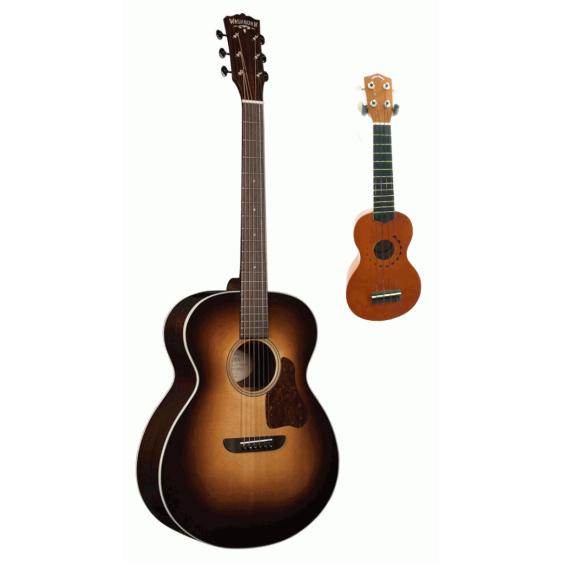 Washburn Revival Solo Deluxe G200SWE Acoustic Electric Guitar & Ukulele BUNDLE