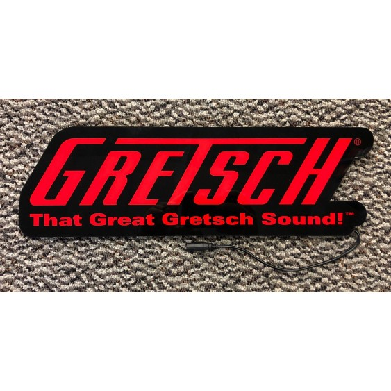 Gretsch Guitars Logo LED Light Up Display Store Sign with Power Supply 17x6x1