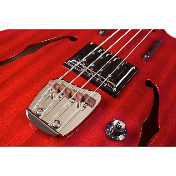 Guild Starfire Electric Semi Hollow Bass Guitar in Red with Case - Blem #A9781