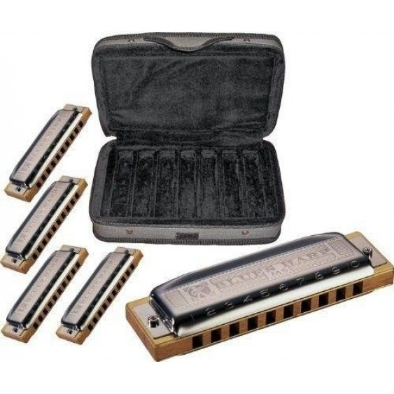 Hohner Case of Blues 5 Pack of Blues Harp Harmonicas , Keys of G,A,C,D,E