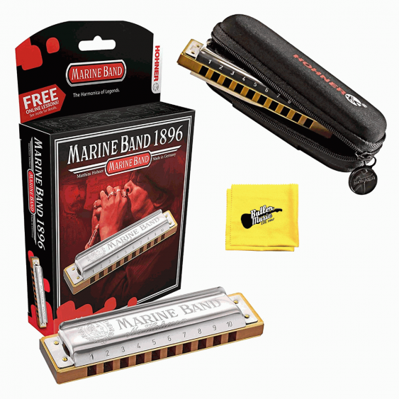 Hohner Marine Band 1896 Harmonica with Free Pouch and Cloth - Key of G#/Ab