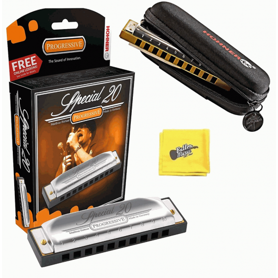 Hohner Special 20 Progressive Harmonica with Free Pouch and Cloth - Key of C#/Db