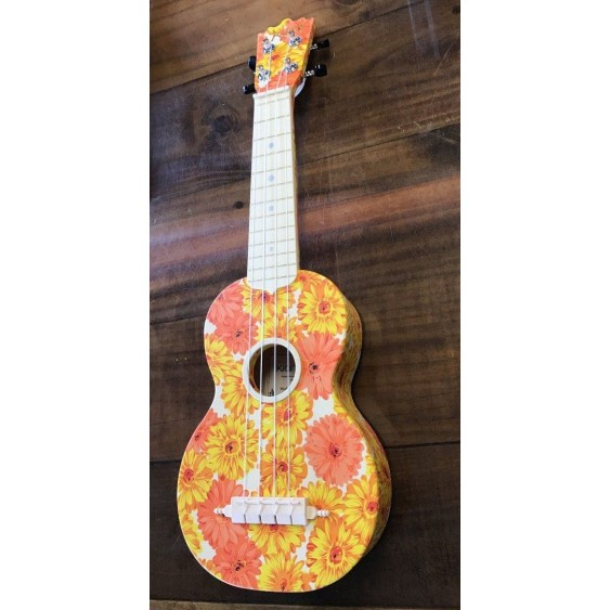 Kics Ukuleles Model KUS-OF Orange Flower Burst Soprano ABS Ukulele with Gig Bag