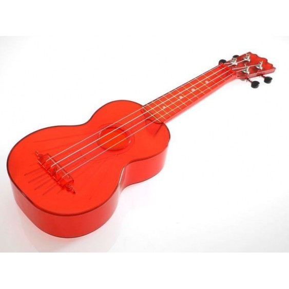 Kics Ukuleles Model KUS-TR Translucent Red Soprano ABS Ukulele with Gig Bag