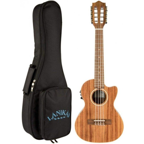 Lanikai ACST-8CET Solid Top Acacia 8 String Tenor Acoustic Electric Ukulele +Bag