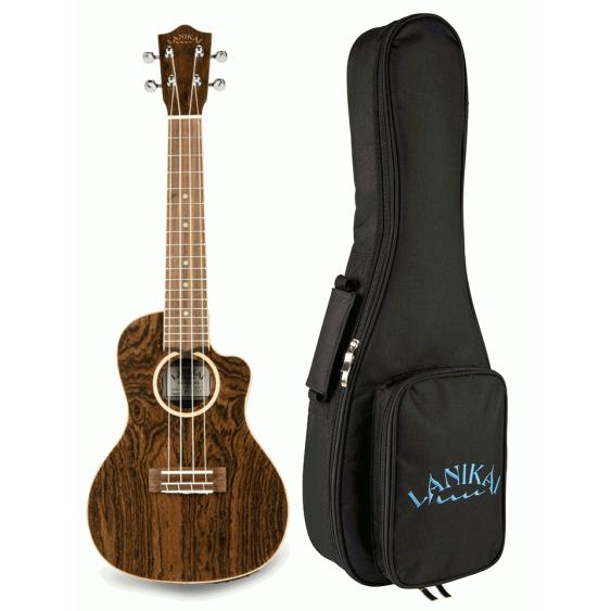 Lanikai FB-CETT Thin Body Bocote Tenor Size Acoustic Electric Ukulele with Bag