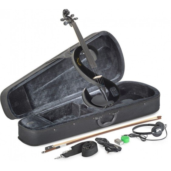 Lucky Penny EVN/BK Black Electric Violin Package W/Case, Headphones and More