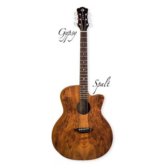 Luna Grand Auditorium Gypsy Exotic Spalted Top Gloss Acoustic Guitar GYP SPALT