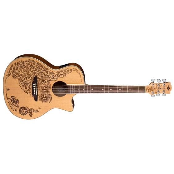 Luna Model HEN OA SPR Henna Oasis Acoustic Electric Folk Size Cutaway Guitar
