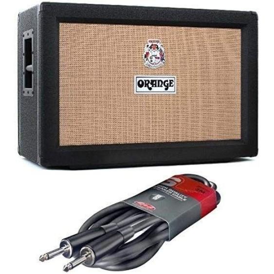 Orange PPC212CBK Black 2 X12 Celestion V30 Speaker Cabinet Speaker Cable Bundle