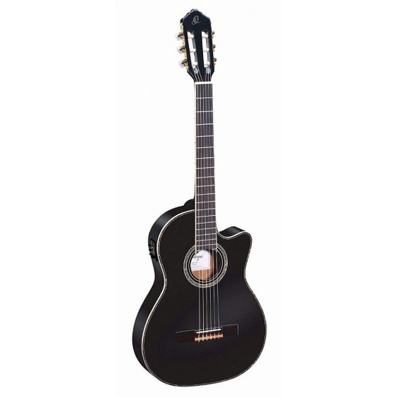 Ortega RCE145BK Black Pro Slim Neck Electric/Acou Classical Guitar  - Blem #XZ23