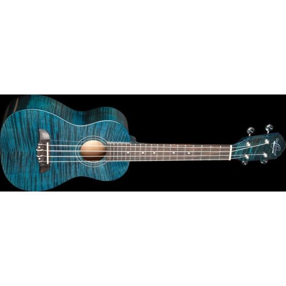 Oscar Schmidt Model OU2FTBL Transparent Blue Flame Mahogany Concert Size Ukulele
