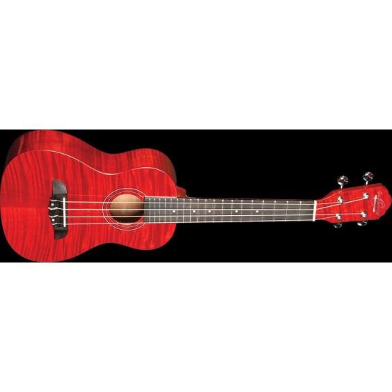 Oscar Schmidt Model OU2FTR Transparent Red Flame Mahogany Concert Size Ukulele