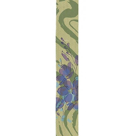 "Perris Leathers CWSSP-7040 Screen Printed Tan Cotton Guitar Strap - 2"", Purple Orchids"