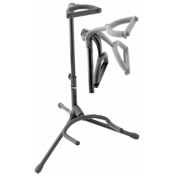 Stagg SGA100PBK Deluxe Black Single Hanger Style Foldable Head Guitar Stand