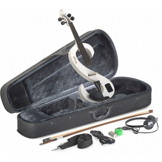 Stagg EVN 4/4/WH Snow White Electric Violin Package w/ Case, Headphones and MORE