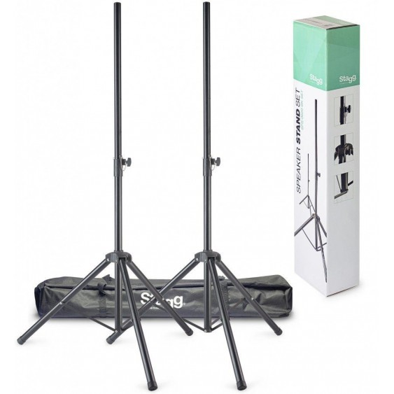 Stagg SPS-0620 BK SET Pair of Heavy Duty Tripod Black Speaker Stand s with Bag