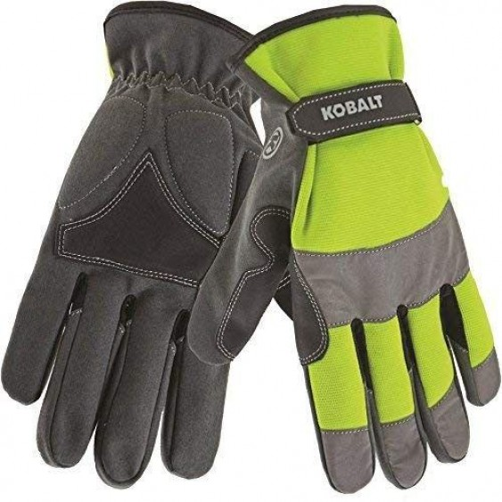 Kobalt High Visibility Yellow Safety Gloves with Leather Palm Size - XL