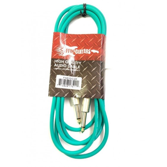 Effin Guitars FNG10CGR Green 10 Foot Pro Guitar Cable with Noise Free Connectors