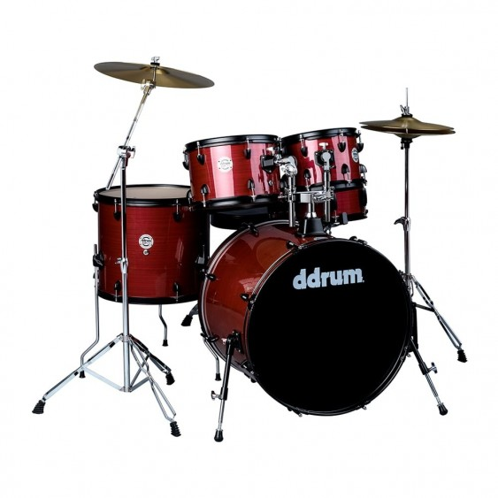 Ddrum D2P Red Pinstripe D2 Player 5PC Drum Kit with Hardware and Cymbals
