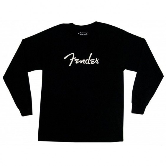 Genuine Fender Spaghetti Logo Long Sleeve Black T-Shirt 100% Cotton Size Medium
