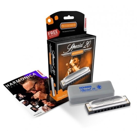 Hohner Special 20 Progressive C with Mini Harmonica Necklace and Polish Cloth