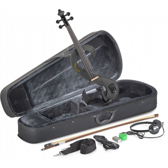 Lucky Penny EVN/MBK Metallic Black Electric Violin Package W/Case, Headphones +