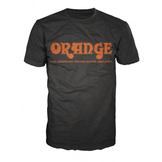 Orange Amplifiers Black Retro Logo Fitted 100% Cotton T-Shirt, Men's Medium -NEW