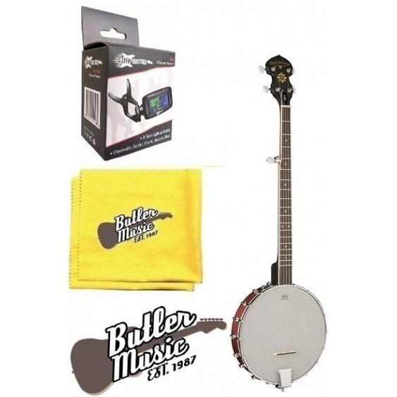 Oscar Schmidt OB3 Open Back 5 String Banjo w/Clip-on Tuner + More