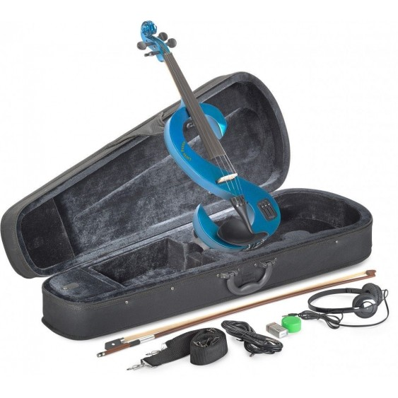 Lucky Penny EVN/MBL Metallic Blue Electric Violin Package W/Case, Headphones