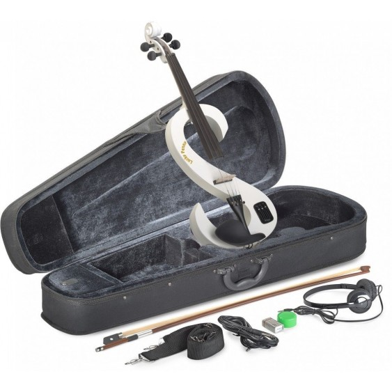 Lucky Penny EVN/WH White Electric Violin Package W/Case, Headphones Plus Bundle