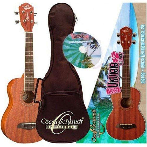Oscar Schmidt Model OU2PAK Concert Size Ukulele Pack With Gig Bag & More - DEMO
