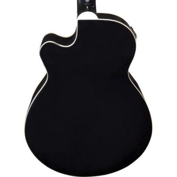 Oscar Schmidt OB100B Acoustic Electric Black Hollow Body Bass with Gig Bag