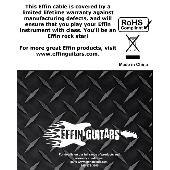 "20FT Straight / Angled 1/4"" Deluxe Instrument Cable Jack -Effin Guitars FNG20PLD"