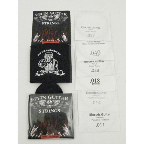 2 Sets of Effin Guitars .011-.052 Heavy Electric Guitar Strings + free Koozie