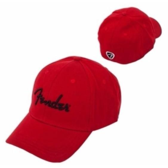 Genuine Fender Logo Red Stretch Cap Ballcap Hat Small-Medium S/M #9106000309