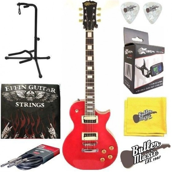 2016 Effin Guitars OldLess/MR Deluxe Metallic Red Electric Guitar w/Strings+More