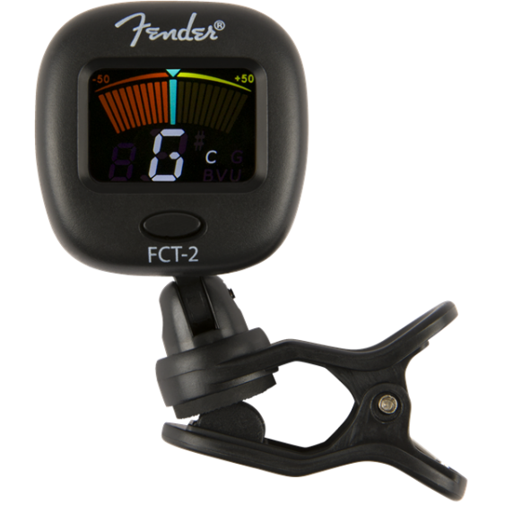 Fender FCT-2 Color LCD Chromatic Clip-On Tuner for Guitar, Uke, Bass, and More