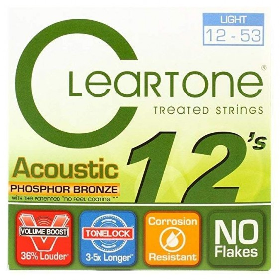 Cleartone #7412 Phosphor Bronze Coated Acoustic Guitar Strings, Light 12-53