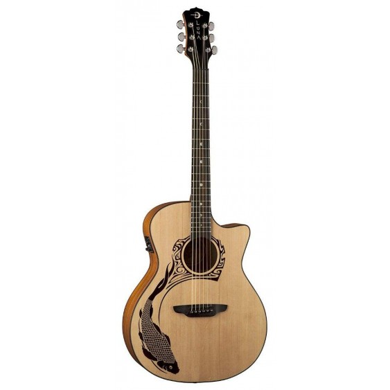 Luna Oracle Koi V2 Acoustic Electric Solid Spruce Top Guitar Koi Design #OCLKOI2