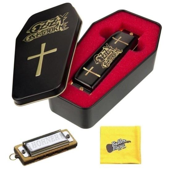 Hohner M666 Ozzy Osbourne C Harmonica w/Coffin Case, Cloth, and Mini Harmonica