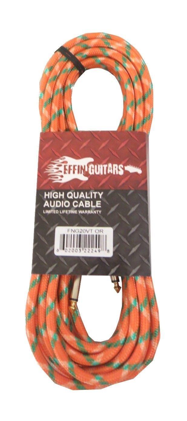 Effin Guitars 20 Foot Orange Vintage Tweed Instrument Cable 20/' #FNG20VTOR 6m